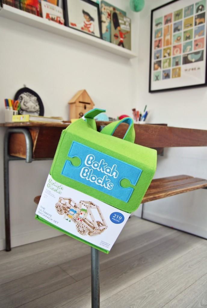 Bokah blocks backpack & packaging